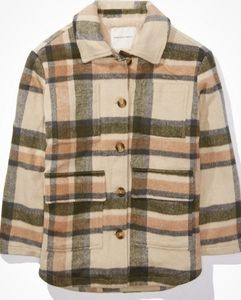 American eagle sherpa plaid shirt jacket
